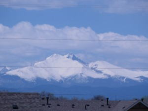 Snow covered Long's Peak viewed from my son's balcony