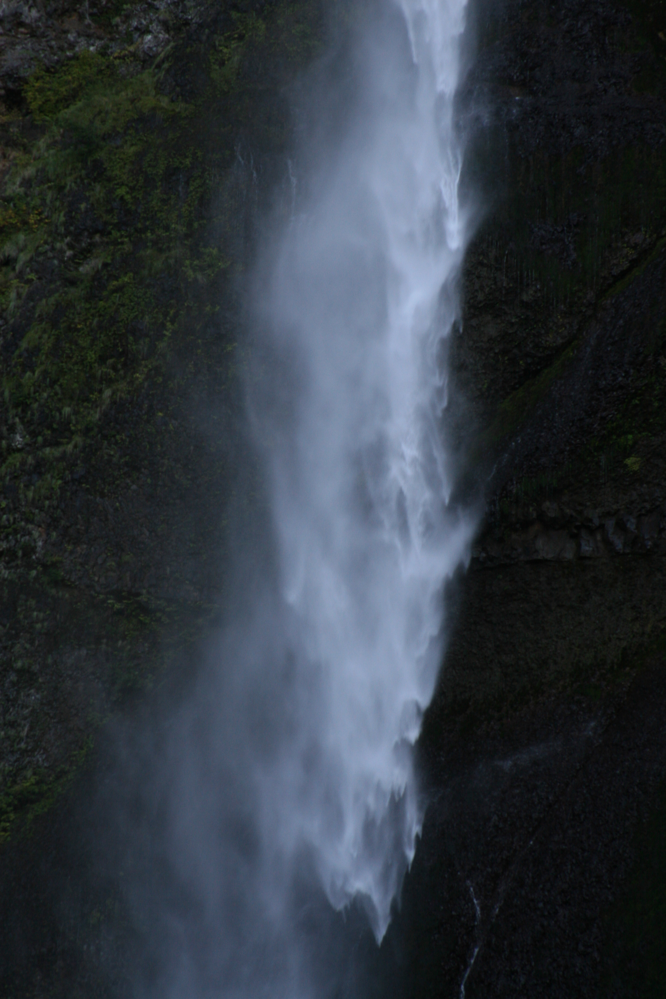 Falling water at Multnomah Falls in Oregon