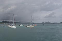 Hazy day at the island of St. John USVI